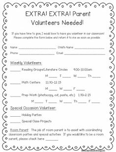 FREE Sample parent volunteer letter and other great parent communication freebies, too.