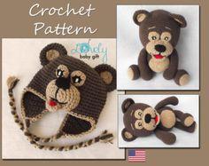 Set of Crochet Patterns, Amigurumi, Bear Crochet Pattern, Bear Hat Pattern Crochet, Bear Hat and Bear Toy Crochet Set, Bear Doll