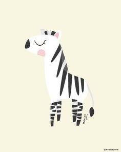 Baby Zebra Poster : Modern Animal Illustration Nursery Art Wall Decor Print 8 x…