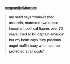 he was tortured and brainwashed and mind wiped who knows how many times and kept in a cryogenic state by the most evil and ruthless of regimes, he is not responsible #teambucky #protecthim