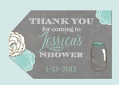 Mason Jar Floral Bridal Shower Favor Tags, Bride to be tags, Wedding Shower printable tags