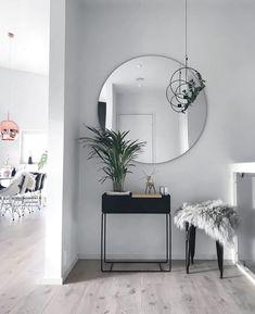 "Modern entryway table ideas round mirrors - explored ""entryway table i Home Design, Decor Interior Design, Interior Decorating, Hallway Decorating, Decorating Ideas, Interior Design Living Room, Living Room Decor, Decor Room, Interior Livingroom"