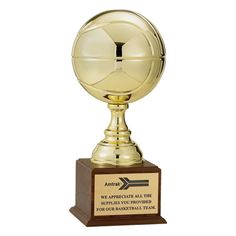 """19 1/2"""" Gold Basketball Trophy with 9"""" diameter ball"""