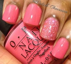Nail color is sick tho pink Friday and glitter
