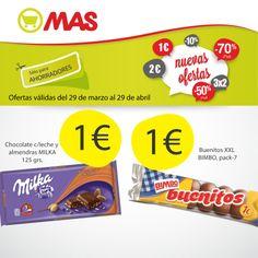 Meriendas de chocolate en Supermercados MAS, tan sólo 1€! Un caprichito que te alegrará la tarde!