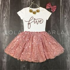 Number FIVE toddler birthday shirt in PINK CONFETTI sparkle
