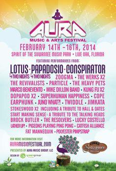 2014 Aura Music & Arts Festival Lineup and Tickets!   Feb. 13-16   Live Oak, FL
