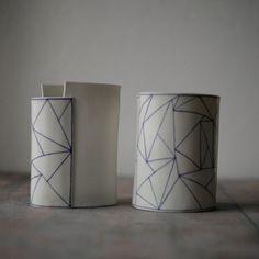 FH Porcelain, geometric vases. www.farahhernandez.za #farahhernandez
