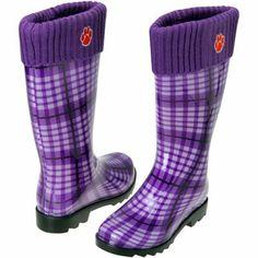 Clemson Tigers Ladies Rain Boots - Purple