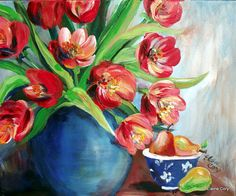 Pears+and+Tulips+Still+Life+Painting+16+x+20+by+ElainesHeartsong,+$155.00