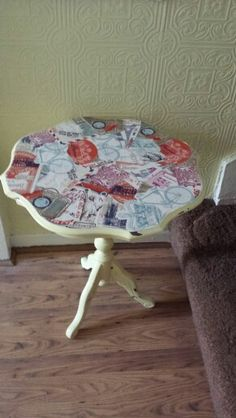 My latest project just finished.decoupaged and chalk painted side table.