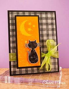 CUTE Halloween inspiration for me to try :) handmade Halloween card . bright orange panel on black gingham print background . cat sitting and staring at the moon and stars . Fröhliches Halloween, Halloween Cards, Holidays Halloween, Halloween Decorations, Homemade Halloween, Thanksgiving Cards, Holiday Cards, Christmas Cards, Scrapbooking