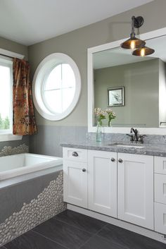 Ensuite custom tile work and detailing in newly finished North Vancouver custom home Stone Bathroom, Bathroom Renos, Bathroom Renovations, Master Bathroom, Home Remodeling, Grey Countertops, Custom Built Homes, Barn Lighting, Beautiful Bathrooms