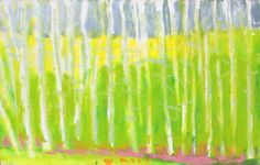 "New from Wolf Kahn, ""Green Trunks"", 2013, oil on canvas, 14 x 22 inches"