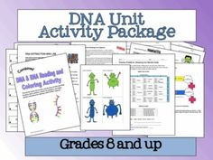 DNA Unit Activity Package. Includes notes, labs, worksheets and fun/different things to do!