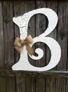 Wooden Letter B 2 ft tall Any Letter A - Z Vintage Style Hand Cut Shabby Chic Cottage Signs - Home Decor, Wedding sign. $45.00, via Etsy.