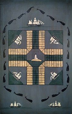 Primitive Wooden Parcheesi Game Board with Whales ** For more information, visit image link. (Amazon affiliate link)