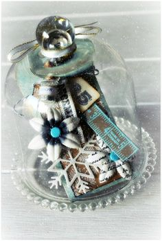 A darling cloche with a homemade Christmas tag inside….perfect for this size. I will pin the tag next for your reference, if you chose to make one.