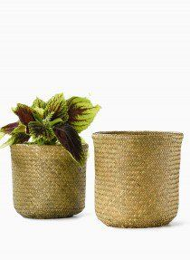 double woven basket plant cachepot storage 1649RS-AS4 JAMALIGARDEN.COM 3 - $9