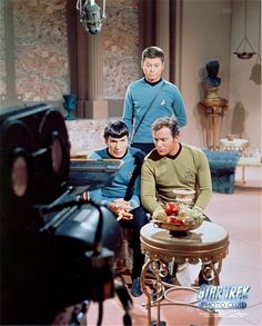 Behind the scenes of Star Trek TOS- The doctor likes his work. Description from uk.pinterest.com. I searched for this on bing.com/images