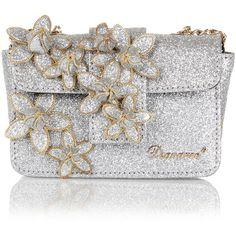 Dsquared2 Glitter mini clutch with Flower applications ($240) ❤ liked on Polyvore featuring bags, handbags, clutches, silver, mini handbags, mini pochette, flower handbag, miniature purse y glitter handbags