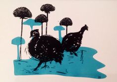 Guinea fowl greetings card. by scampandhoney on Etsy