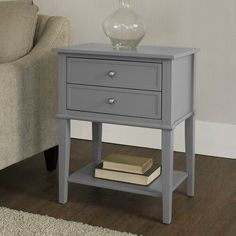 Beachcrest Home Winfield End Table With Storage Color: Gray Upholstered Storage Bench, End Tables With Storage, Storage Drawers, Open Shelving, Blue Area Rugs, Bedroom Furniture, Table Furniture, Solid Wood, Indoor Outdoor