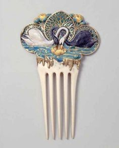 Paul Vever (1851 – 1915) and Henri Vever (1854 – 1942) for Maison Vever, after design by Eugène Samuel Grasset (1841–1917) Swan and Lily Pin, ca. 1900