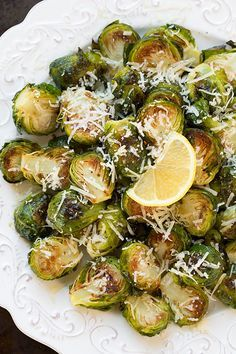Garlic Lemon Parmesan Roasted Brussels Sprouts via Cooking Classy.