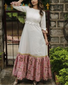 White and pink long dress is part of Dresses - White long dress with pink printed silk chanderi cotton material Frock Fashion, Fashion Dresses, Indian Designer Outfits, Designer Dresses, Long Gown Dress, Long Maxi Dresses, White Long Dresses, Cotton Long Dress, Long Frock