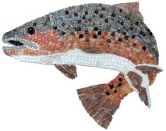https://flic.kr/p/5hntVT | Mosaics for Limelight Lodge, Aspen CO | These photos are of the mosaics prior to installation. There is some minor color distortion due to the transparent film used to hold the mosaics together for shipping and installation.   The glass used is mostly Sicis Irridium, except for the fins which use Mosaic Mercantile's metallic glass. The eyes are German glass eyes made for taxidermy.