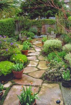 Flagstone Path, Pots, Benches