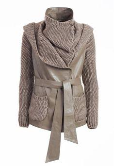 Куртка кожаная с трикотажем женская