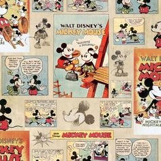Tapetti toiseen lastenhuoneeseen, GRAHAM & BROWN DISNEY MICKEY MOUSE VINTAGE EPISODE COMIC STRIP WALLPAPER 70 242