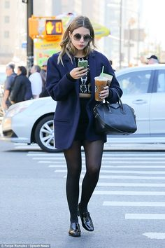 Feeling blue: Ashley Benson looked to be in a reflective mood on Sunday in NYC, as she ste...