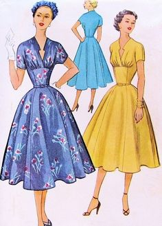 1950s Beautiful Dress Pattern McCalls 9244 Unique Low Notched Keyhole Neckline Fitted Midriff Full Flattering Skirt Cocktail Party Dress Bust 34 Vintage Sewing Pattern