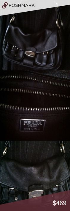 "Authentic PRADA bag Great Size: approx 13"" long, 7.5"" tall, 3.75 deep 22"" strap. Perfect shape except some very minor scuffs on front silver closing - hardly noticable and it is from normal storage without protective dust bag. Thick soft leather. Prada Bags Shoulder Bags"