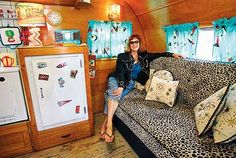 Kristine Gali kicks back in her 1948 Kit Chateau restored with a '50s retro atomic look.