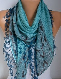 Mint  Scarf Fall Fashion Cotton Scarf Oversize Scarf by fatwoman