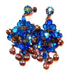 #BlueCrystal #ChandelierEarrings Dangling #RoseMonteeRhinestones 2.5' #Vintagejewelry
