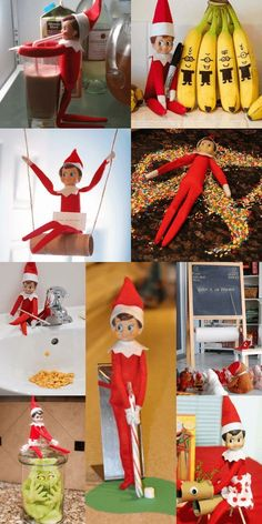 Love these elf on the shelf ideas! So much creative fun for kids and easy too! I've seen a lot of elf ideas, but these are too cute! Lots of last minute Elf on the Shelf ideas you can do quick on this list Funny Christmas Games, Christmas Activities, Christmas Traditions, Christmas Elf, Christmas Humor, Christmas Crafts, Christmas Parties, Christmas Wrapping, Christmas Presents