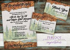 "Rustic Woodland Wedding Invitation Set- Invitation:  5""x7"" - RSVP - 3.5""x5.5"" - Foldover Thank You Card - 5""x7"" (Folds to 3.5""x5.5"") by PeridotImpressions on Etsy"