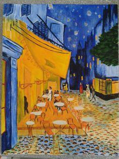 Reprise du tableau Terrasse du café le soir, Place du forum, Arles de Vincent Van Gogh par Pauline COUPE