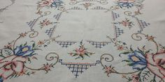 Welcome to my shop : ) ------------------------------------ A unique handmade vintage square small tablecloth. Counted thread embroidery with cross stitch technique, on pure linen fabric. Basic colors, geometric floral frames pattern and a characteristic Linen Tablecloth, Tablecloths, Vintage Embroidery, Embroidery Applique, Handmade Table, Handmade Items, Vintage Linen, Basic Colors, Linen Fabric