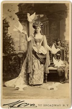 Mrs. William K. Vanderbilt (Alva Murray Smith) dressed as a Venetian Princess, at the Vanderbilt Costume Ball, March 26, 1883.  Cabinet photograph by Jose Maria Mora.  NYHS Image #33756.