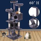 """Cat Tree 60"""" Tower Condo Furniture Scratching Post Pet Kitty Play House Gray"""