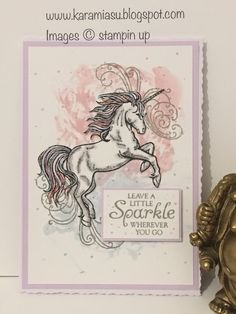 Stamp Up With Karamia leave a little sparkle - ModaHaberci Unicorn Birthday Cards, Girl Birthday Cards, Unicorn Cards, Stamp Up, Notebook Sketches, Horse Cards, Diy Papier, Stampin Up Catalog, Scrapbook