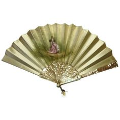 Antique Fan Hand Painted Silk With Mother Of Pearl 1800's. $525.00, via Etsy.