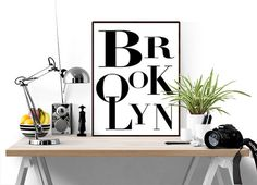 Brooklyn Poster, New York Print, Black and White Typography, Scandanavian…