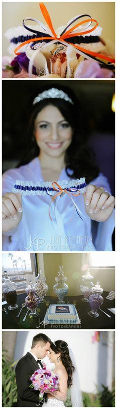 Real Weddings   Sanaz's Denver Broncos lace wedding garter. More details on the blog!